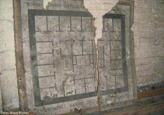 Fundstück aus dem Bunker: Ein schlecht erhaltener Grundriss