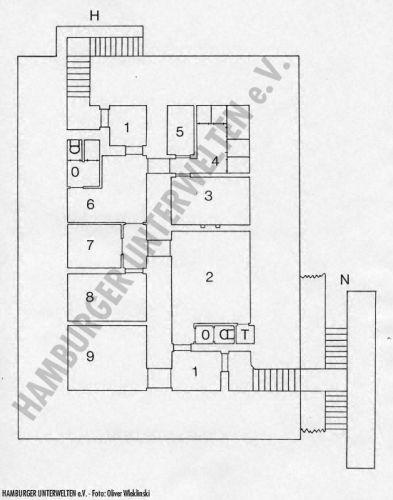 Grundriß der verbunkerten Befehlsstelle (nach einem Originalplan aus dem Staatsarchiv Hamburg)